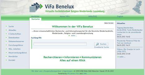 Startseite der ViFa Benelux