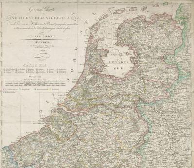 """Ausschnitt aus der """"General Charte vom Königreich der Niederlande"""". Nürnberg : Schneider & Weigel, 1819"""