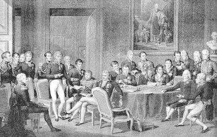 Delegierte des Wiener Kongresses, Kupferstich von Jean Godefroy nach dem Gemälde von Jean-Baptiste Isabey