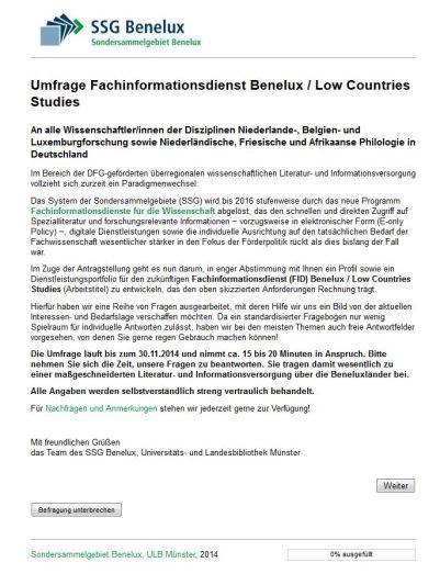 Startseite der Umfrage FID Benelux