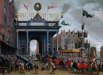 Blijde Inkomste van Frans hertog van Anjou (1556-1584) in Antwerpen, met de erepoort op de St. Jansbrug, 19 februari 1582