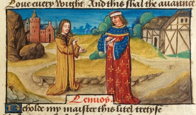 "Unknown Flemish artist: ""Translator addressing his master on a road"", illumination on parchment, late 15th Century. From Latin text of Historia de preliis Alexandri Magni ('The History of Alexander's Battles', J1 version, National Library of Wales)."