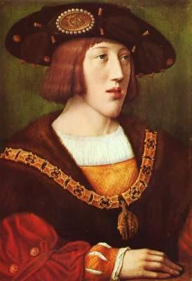 Der junge Karl V. (*Gent, 1500 - † Kloster San Jerónimo de Yuste, 1558), nach Bernard van Orley, circa 1516, depot Louvre-Musée de Brou, Bourg-en-Bresse